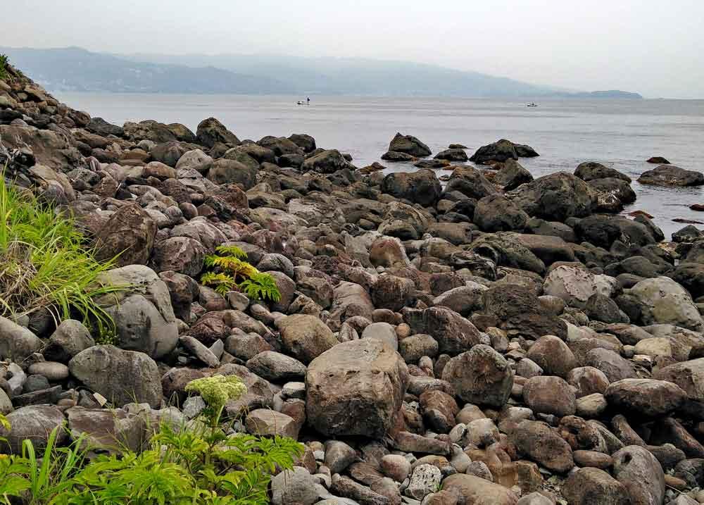 初島の海岸沿いの岩場